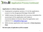 application process continued
