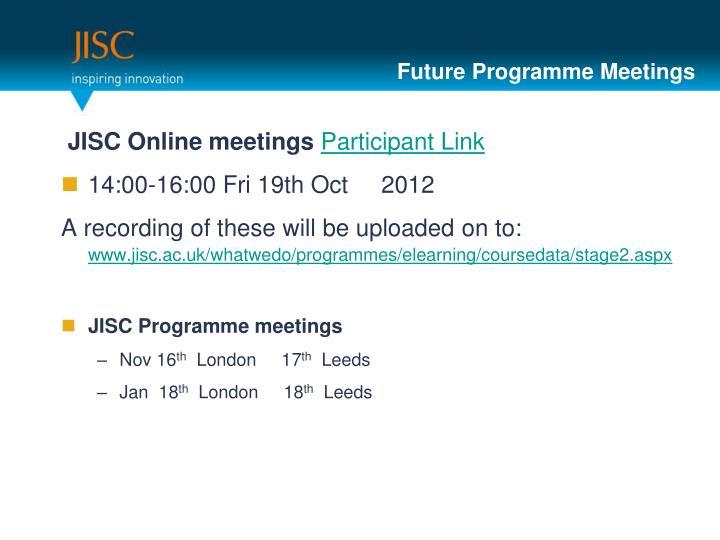 Future Programme Meetings