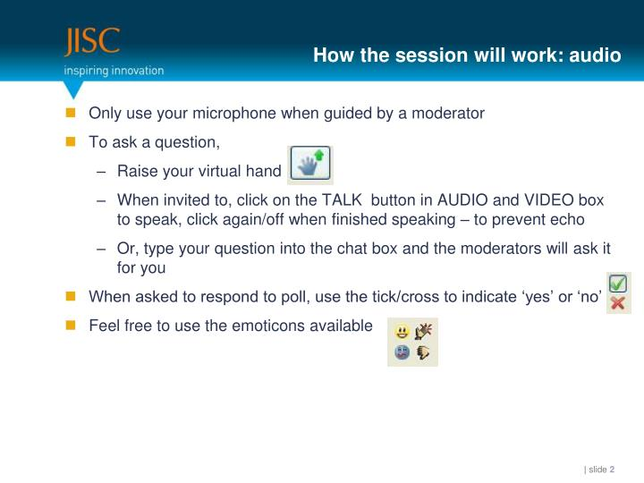 How the session will work audio