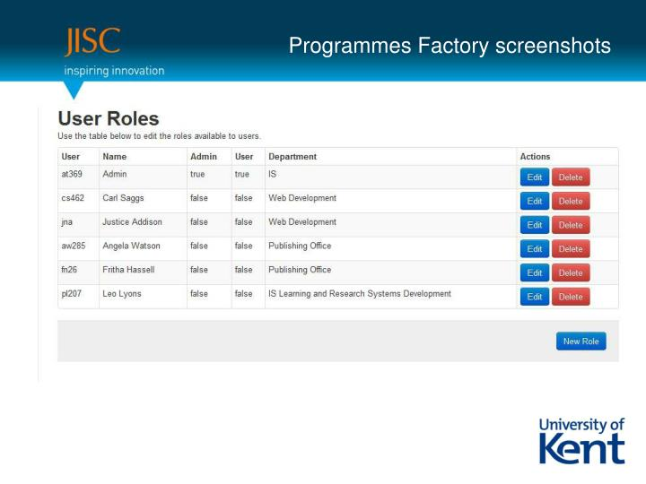 Programmes Factory screenshots