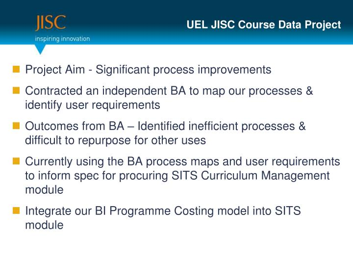 UEL JISC Course Data Project