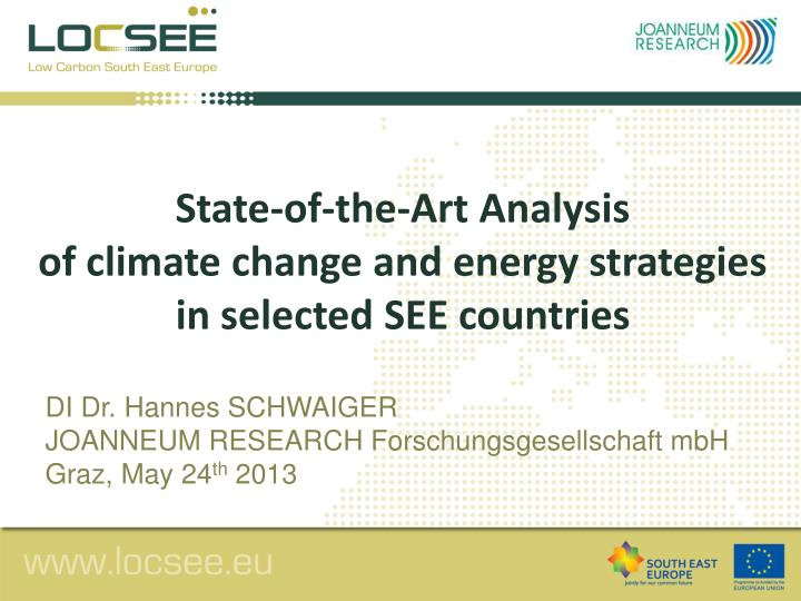 s tate of the art analysis of climate change and energy strategies in selected see countries n.