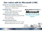 our value add to microsoft lync