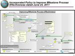 incorporated policy to improve milestone process effectiveness dated june 23 2011