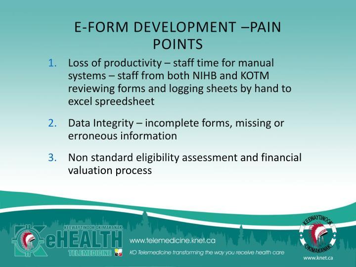E-FORM DEVELOPMENT –PAIN POINTS