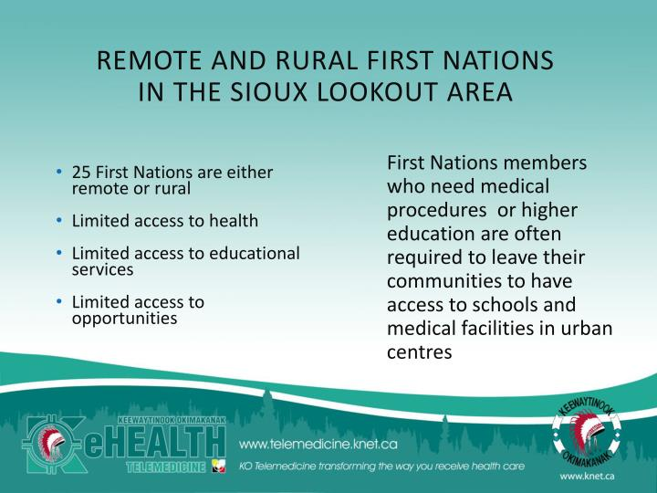 REMOTE AND RURAL FIRST NATIONS