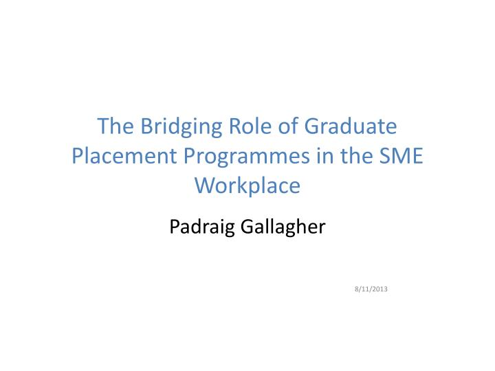 the bridging role of graduate placement programmes in the sme workplace n.