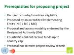 prerequisites for proposing project