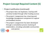 project concept required content 5