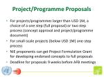 project programme proposals