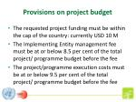 provisions on project budget