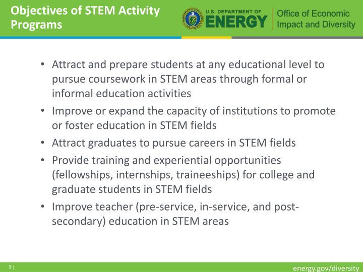 Objectives of stem activity programs
