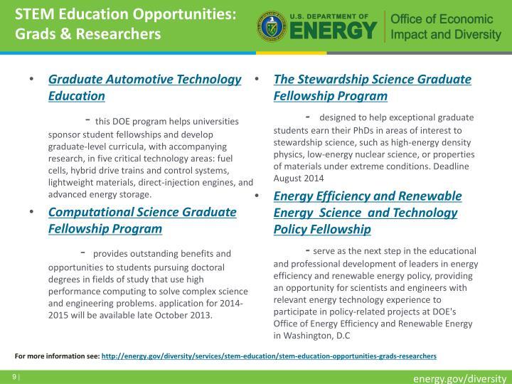 STEM Education Opportunities: Grads & Researchers