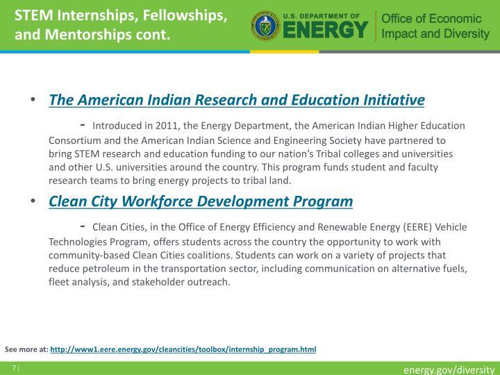 STEM Internships, Fellowships, and Mentorships cont.