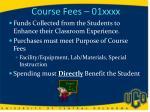 course fees 01xxxx