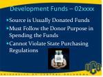 development funds 02xxxx