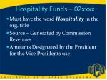 hospitality funds 02xxxx