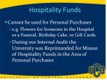 hospitality funds