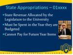 state appropriations 01xxxx