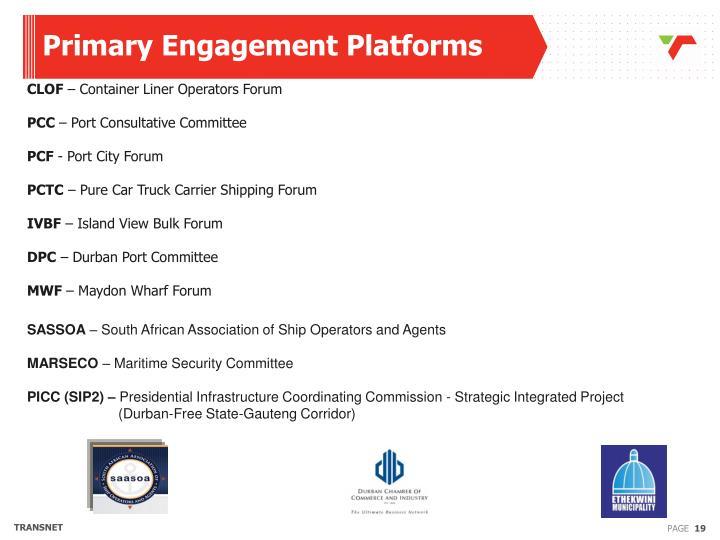 Primary Engagement Platforms