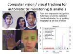 computer vision visual tracking for automatic tic monitoring analysis