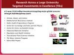 research across a large university targeted investments in excellence ties