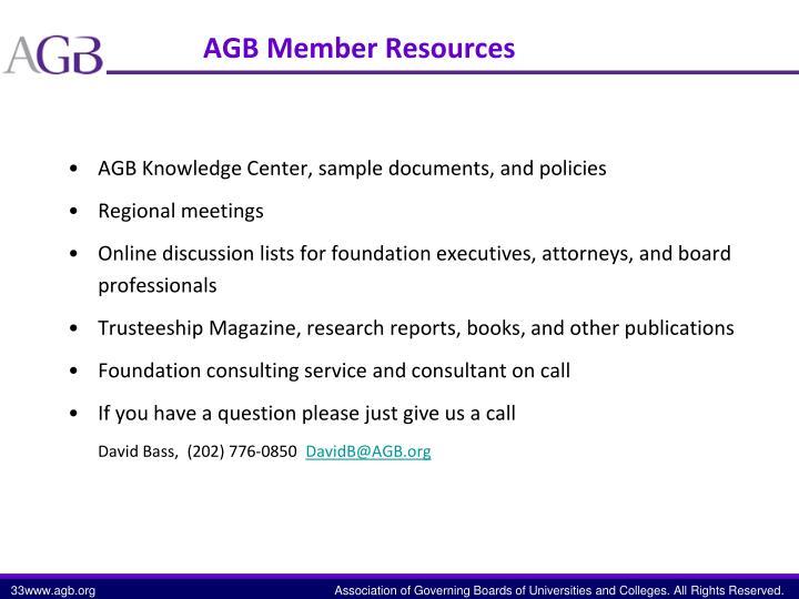 AGB Member Resources