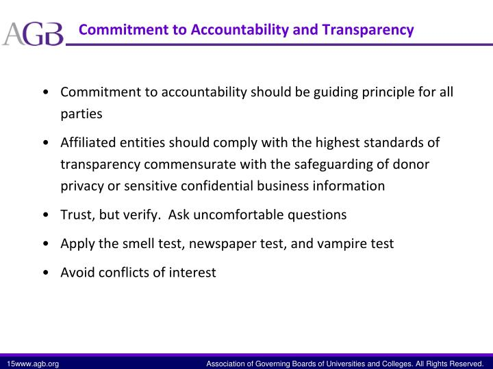 Commitment to Accountability and Transparency