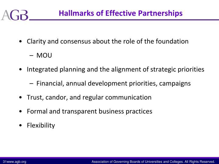 Hallmarks of Effective Partnerships