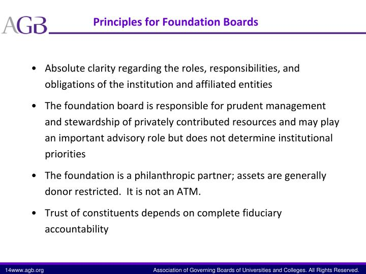 Principles for Foundation Boards