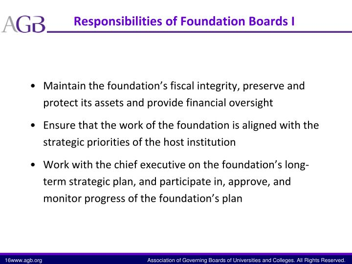 Responsibilities of Foundation Boards I