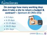 on average how many working days does it take a site to return a budget contract sponsors cros only