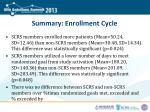 summary enrollment cycle
