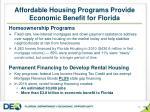 affordable housing programs provide economic benefit for florida