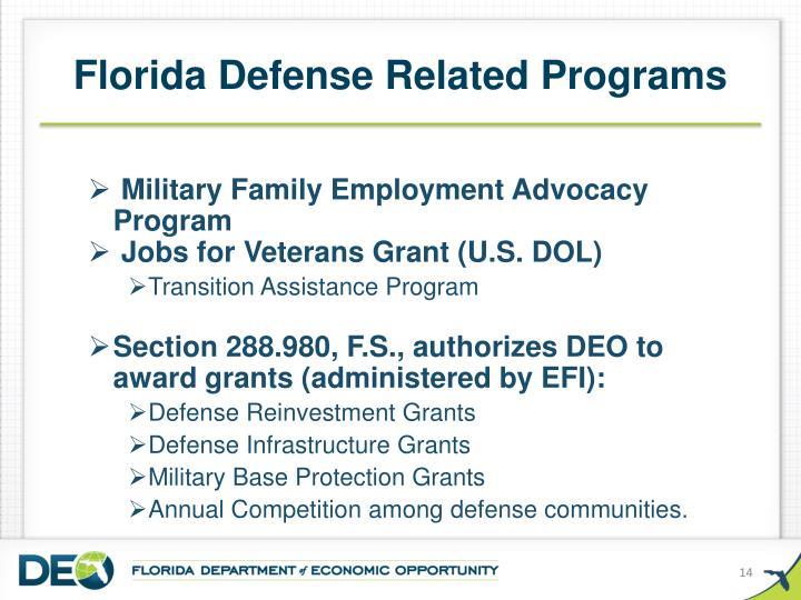 Florida Defense Related Programs
