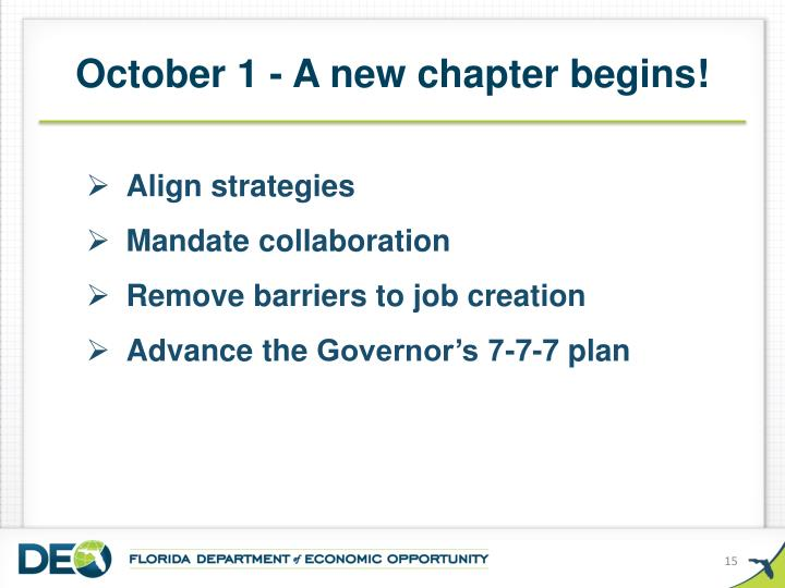 October 1 - A new chapter begins