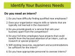 identify your business needs