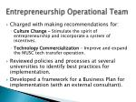 entrepreneurship operational team