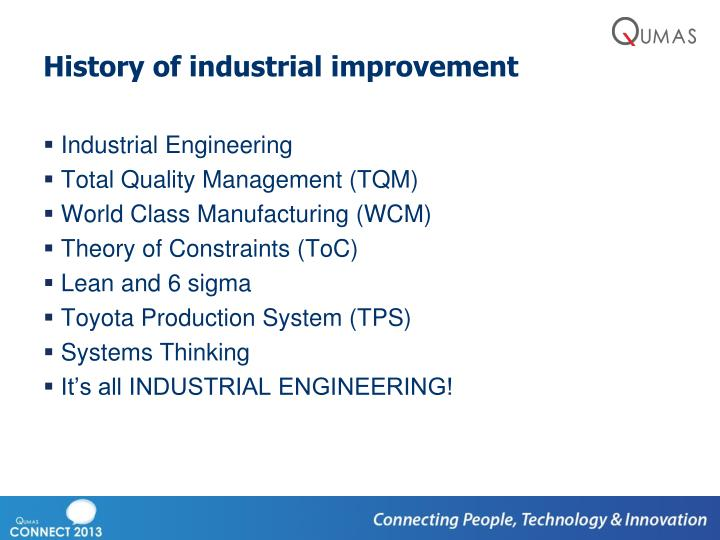 History of industrial improvement