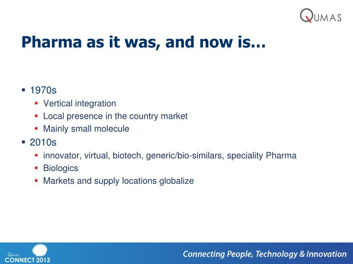Pharma as it was, and now is…