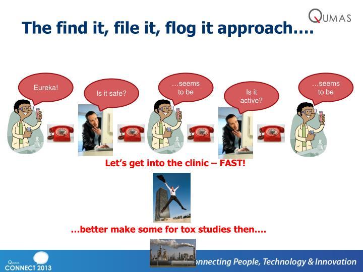 The find it, file it, flog it approach….