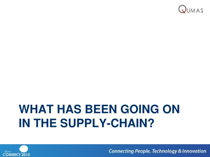 What has been going on in the supply-chain?