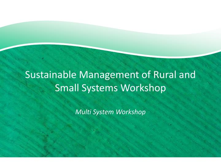 sustainable management of rural and small systems workshop multi system workshop n.