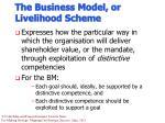 the business model or livelihood scheme