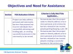 objectives and need for assistance3