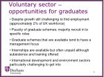 voluntary sector opportunities for graduates