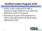 certified lender program clp