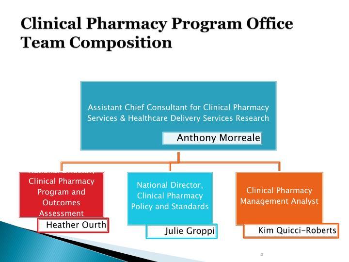 Clinical pharmacy program office team composition