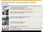 sap helps the travel and transportation industries run better