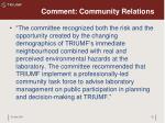 comment community relations